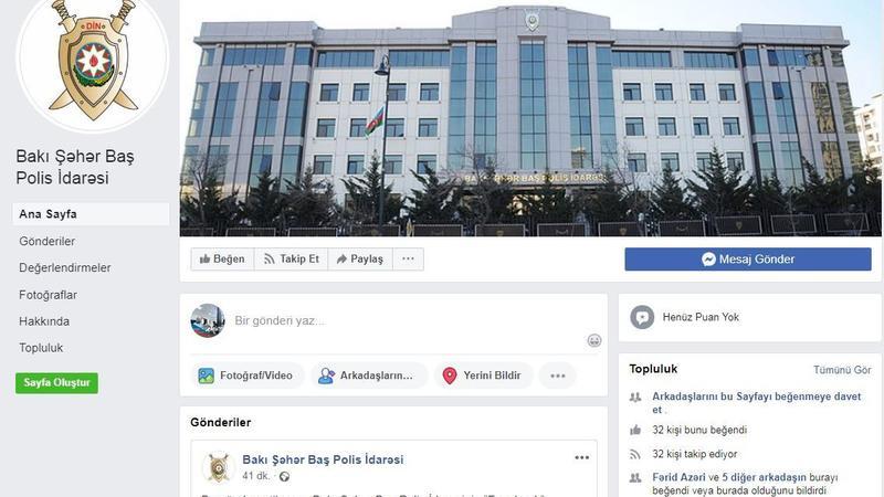 """Bakı Şəhər Baş Polis İdarəsinin """"Facebook"""" səhifəsi fəaliyyətə başladı"""
