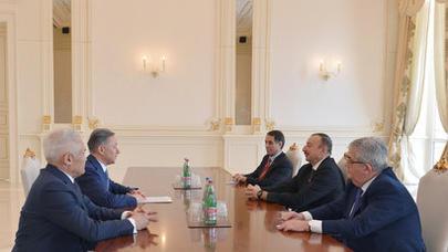 İlham Əliyev Qazaxıstan Parlamenti Məclisinin sədrini qəbul edib